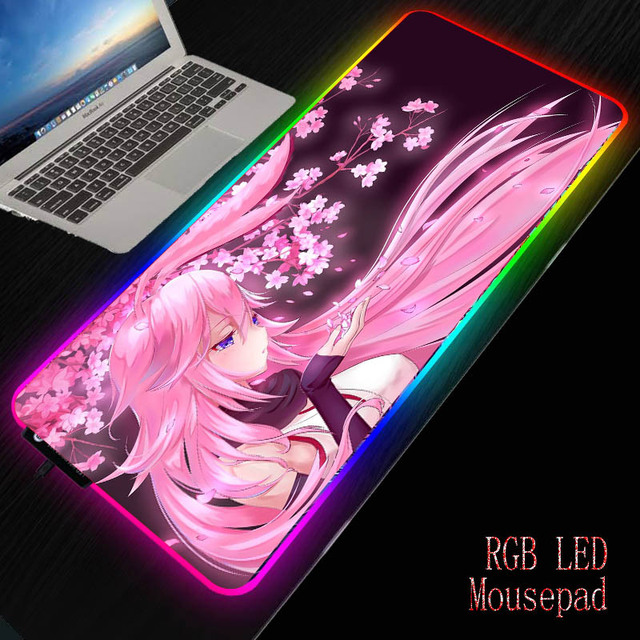 XGZ 900x400/350X600mm Anime Pink Flower Hair Girl RGB Large Gaming Mouse Pad  LED Lighting Mousepad Gamer Computer Desk Mat Pad 1