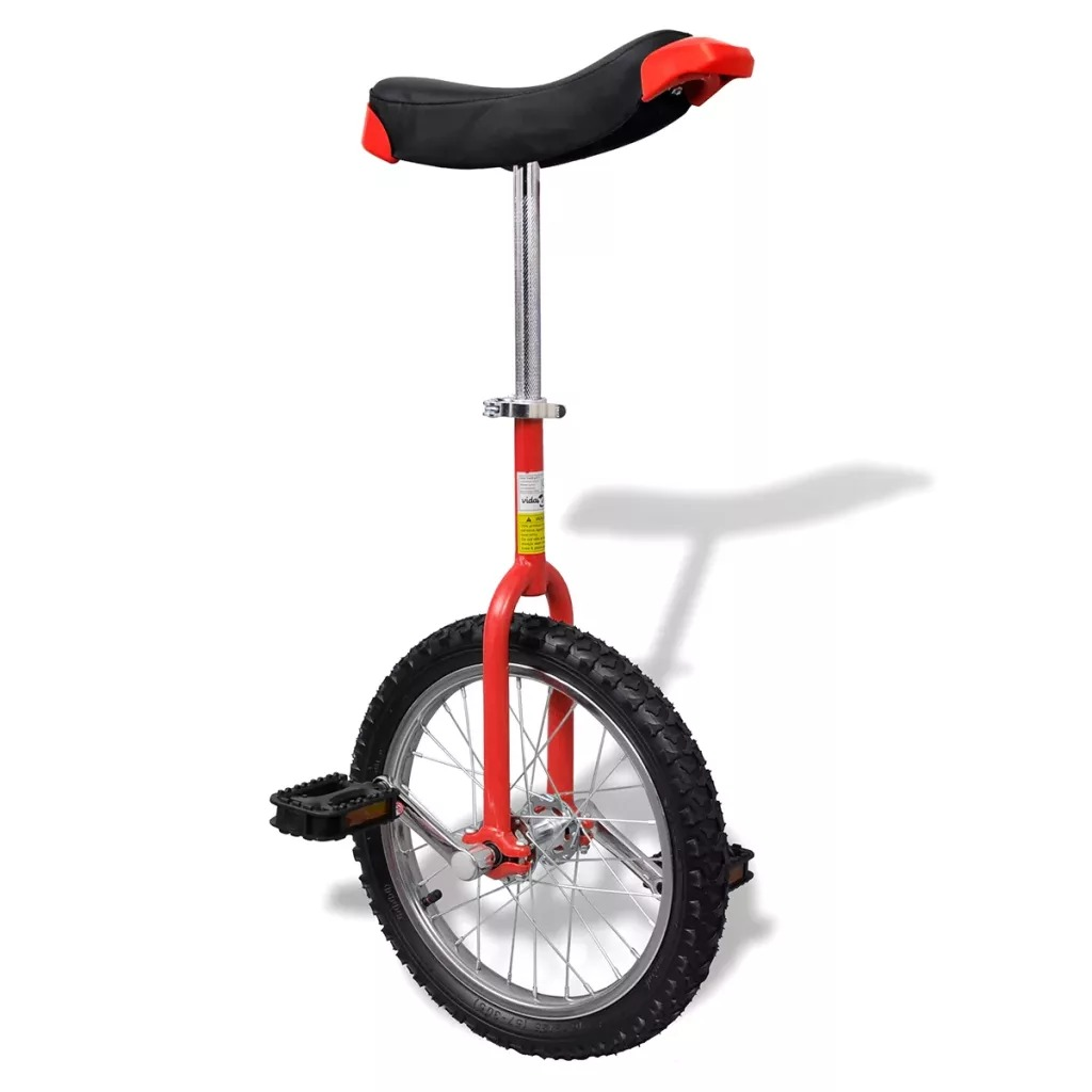 VidaXL16 Inch Ergonomically Distinctive Unicycle Bicycle Red Adjustable Unicycle 16 Inch Wheel Unicycle With Saddle