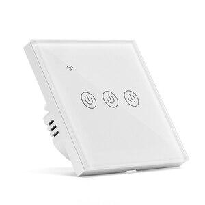 Image 1 - Tuya commutateur intelligent Wifi interrupteur mural maison intelligente IP64 panneau lumineux en verre interrupteur vie intelligente APP télécommande Alexa commande vocale