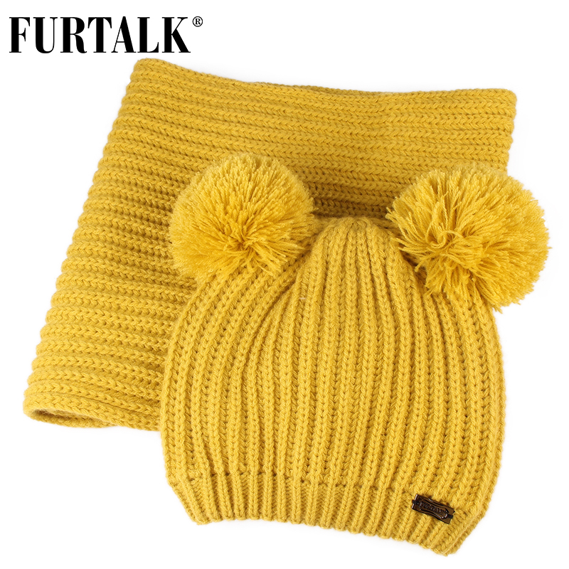 FURTALK Children Winter Hat And Scarf Set Kids Warm Winter Double Pom Pom Hat Baby Boy Girls Fleece Knitted Beanie Hat And Scarf