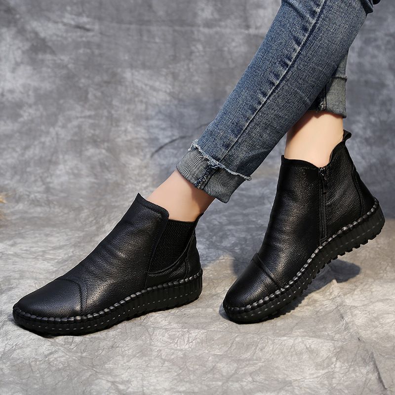 Genuine Leather Shoes Women Boots 2019 Autumn Winter Fashion Handmade Ankle Boots Warm Soft Outdoor Casual Flat Shoes Woman