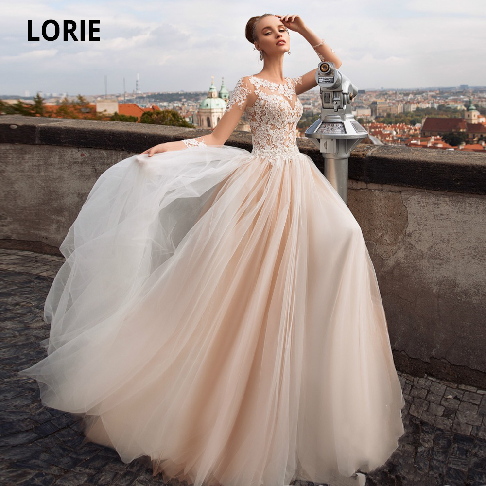 LORIE Long Sleeve Tulle Wedding Dresses Lace Appliques Beach Bridal Gown 2020 Blush Boho Princess Wedding Gown Plus Size