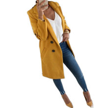 Women Outwear Winter Woollen Coat Long Sleeve Turn-Down Coll
