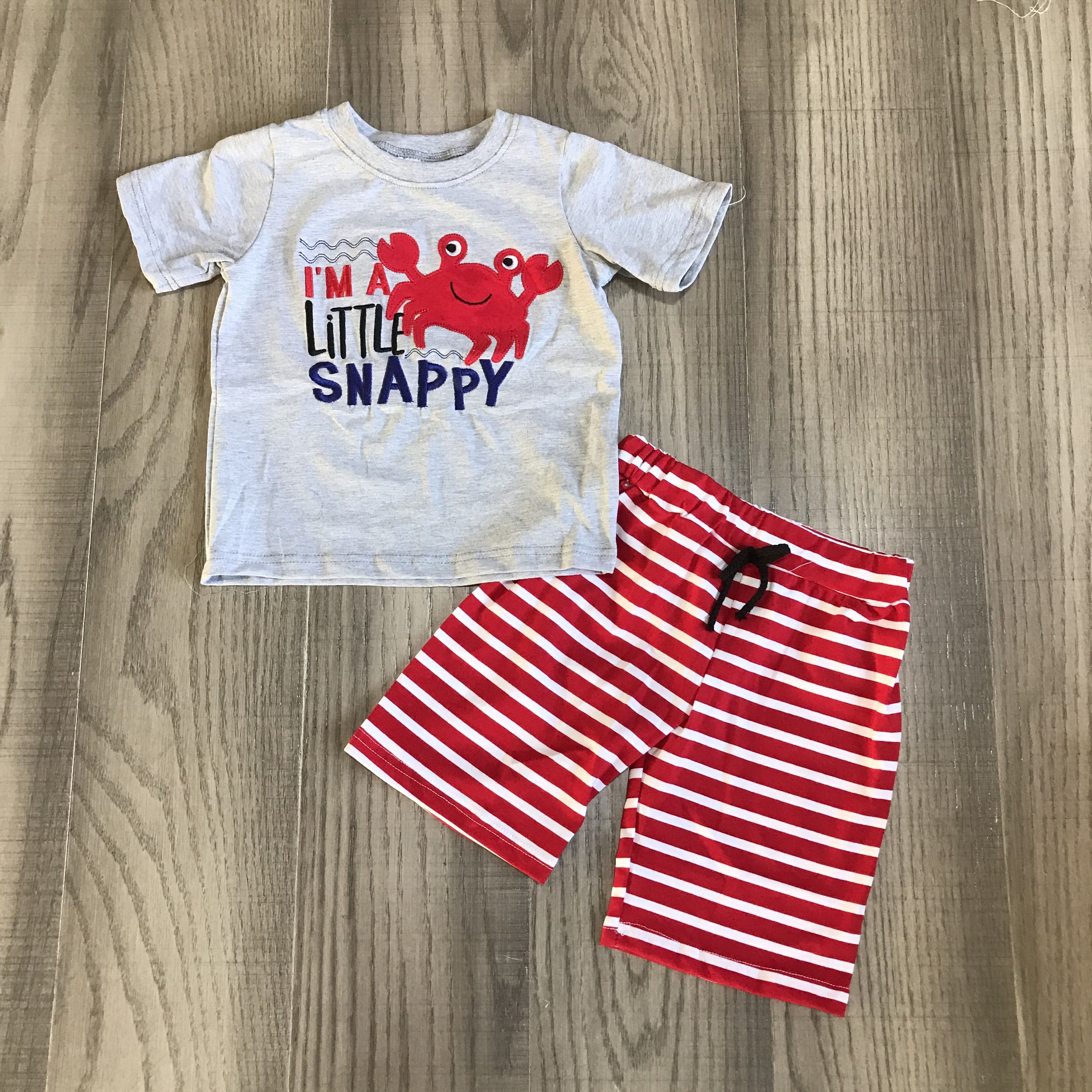 Baby Boy Summer Outfit Boys Little Snappy Clothes Crab Shirt With Red Stripe Shorts