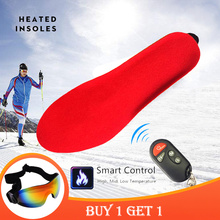 [Promoção] palmilhas aquecidas elétricas quentes de inverno com controle remoto 1800mah bateria palmilhas de sapato de aquecimento almofadas livre óculos de esqui