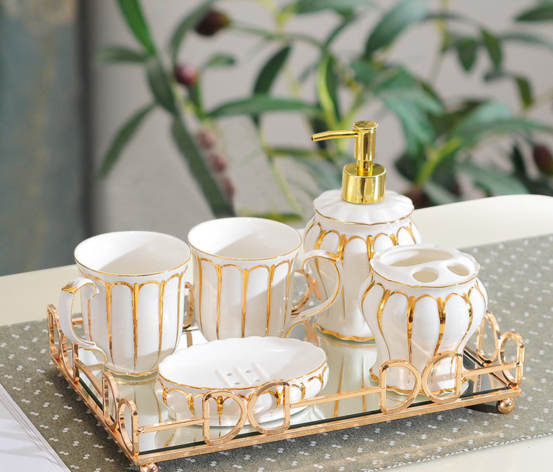 Luxury Modern Ceramic Wash Bathroom Set Lotion Bottle Toothbrush Holder Soap Box Home Decor Five-piece Bathroom Supplies LF915 image