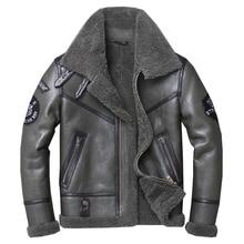 شحن مجاني ، الشتاء الطبيعي جلد الغنم معطف الفرو السميك ، الكلاسيكية الصوف شيرلينغ ، الدافئة سترة جلدية حقيقية ، رجل حجم كبير أبلى