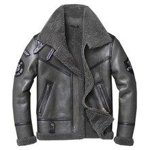Gratis verzending, Winter natuurlijke Schapenvacht dikke bontjas, klassieke wol Shearling, warme lederen jas, mens plus size uitloper