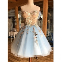 A Line Off the Shoulder Cocktail Dresses Knee Length Light Blue Nude Homecoming Prom Dress Lace Appliques 2021