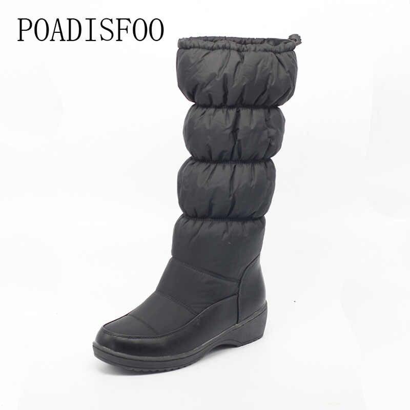 2019 kadın kış diz yüksek çizmeler rahat kış aşağı kar botları popüler yuvarlak ayak slip-on ayakkabılar yüksek kalite. X-85
