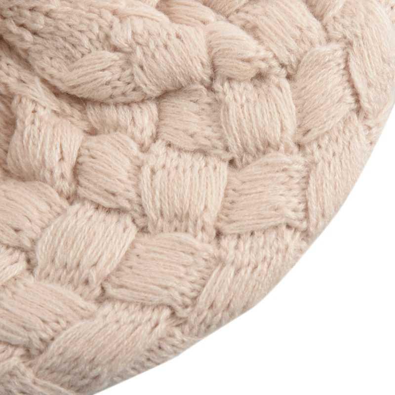 Cute Del Bambino di Inverno Del Bambino Caldo Infantile Del Crochet Del Knit Beanie della Protezione Del Cappello Bambini del Bambino Della Ragazza-Beige