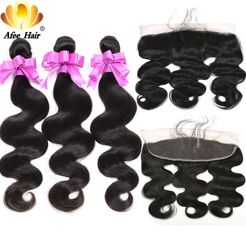 Aliafee Hair 13x4 Lace Frontal Closure With Bundles Deal Brazilian Body Wave 100%Human Hair With Closure Non-Remy Hair Extension