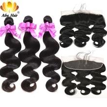 Aliafee cabello 13x4 cierre Frontal de encaje con mechones de pelo brasileño onda del cuerpo 100% cabello humano con cierre extensión de cabello no Remy