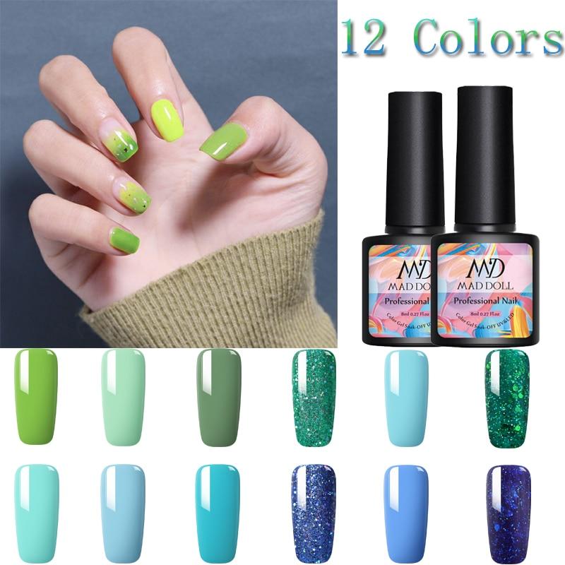 MAD DOLL 8ml Blue Green  Series Gel Nail Polish Soak Off UV Gel Polish Varnish One-shot  Nail Color Manicur Nail Art Gel