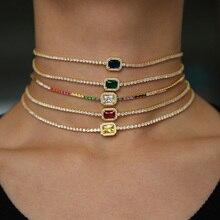 5สีTiny Micro Pave Rainbow Cz Charmน่ารักน่ารักผู้หญิงน่ารักสาวDainty Chain 2021ของขวัญวาเลนไทน์สร้อยคอที่เรียบง่าย