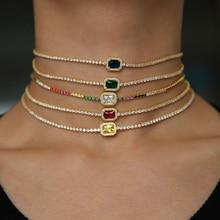 5 renk küçük micro pave gökkuşağı cz kare charm narin sevimli güzel kadın kız zarif zincir 2021 sevgililer hediye basit kolye