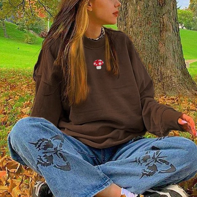 Brown Sweatshirts Y2K 2021 New Fashion Embroidery Mushroom Indie Aesthetic 90s Long Sleeve Hoodies Graphic Crewneck Clothes 2