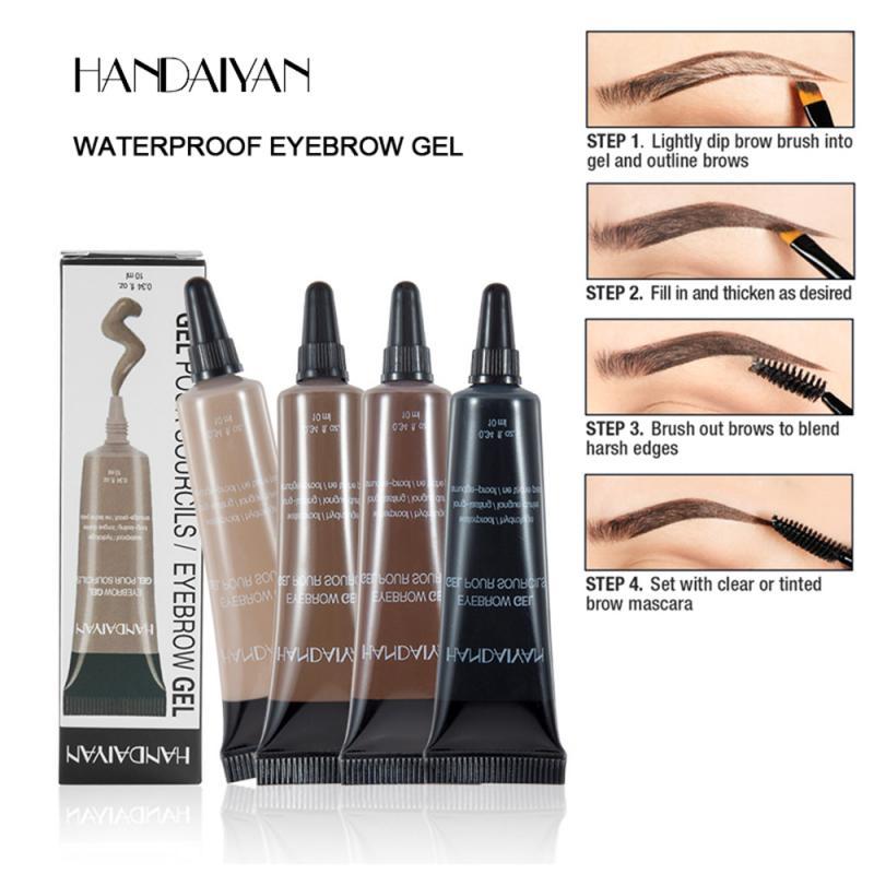 Водостойкий крем для бровей HANDAIYAN, натуральный макияж, тени, пигмент, стойкий крем для бровей черного и коричневого цвета с кисточкой TSLM1