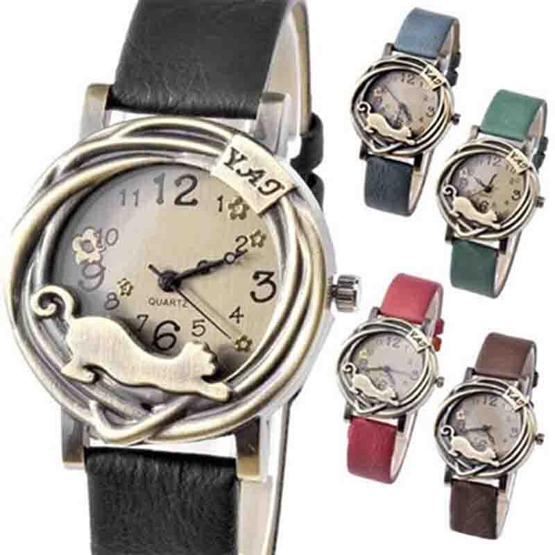 Hot Sales Fashion Vintage Watch Women Bronze Case Cat & Flower Quartz Analog Watches Reloj Mujer Relogio Feminino часы женские