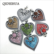 3pcs 40*50mm Bohemia Heart Flower Charms Pendant Necklace Making Findings Antique Silver Crystal DIY Edelweiss Jewelry
