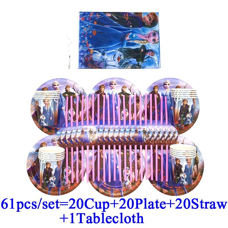 <font><b>Princess</b></font> Elsa Anna Frozen 2 <font><b>Party</b></font> Supplies Disposable Cup Plate Straws For Kids Girls Frozen 2 Birthday <font><b>Party</b></font> Decorations Sets image