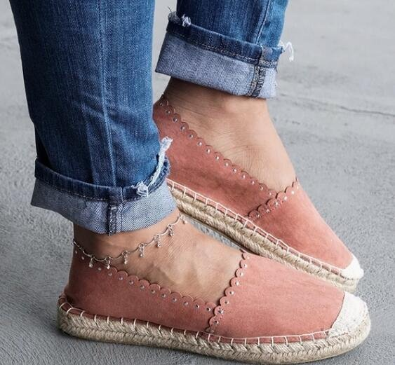 Women Low Top Canvas Flats Summer Breathable Flat Espadrille Shoes Casual Leisure Round Toe Driving Flats