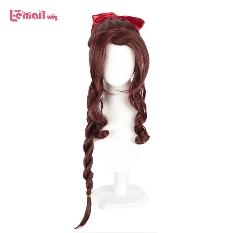 L-email Wig Final Fantasy VII Aerith Cosplay Wigs FF7 Cosplay Brown Long Curly Ponytail Wig Heat Resistant Synthetic Hair Game
