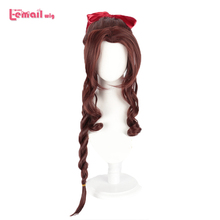 L email wig Final Fantasy VII Aerith Gainsborough Cosplay Wigs Brown Long Curly Cosplay Wig Heat Resistant Synthetic Hair Peruca