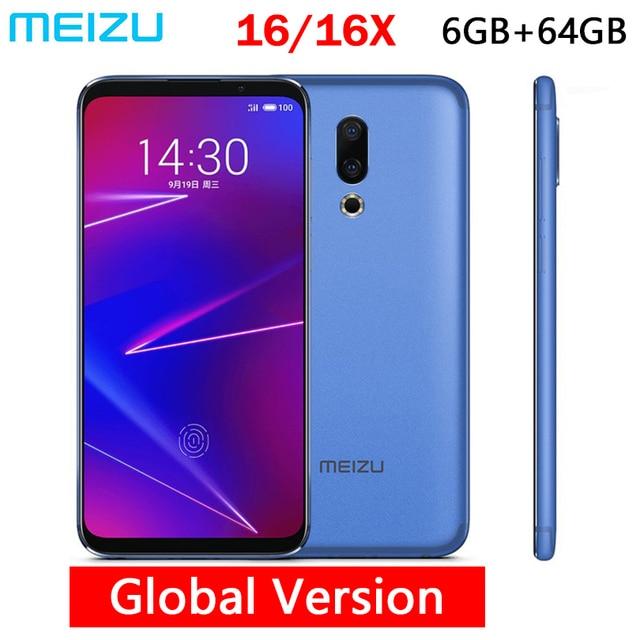 "Original Meizu 16 16X Global 64GB ROM Mobile Phone Snapdragon 710 Octa Core 6.0"" 2160x1080P Full Screen Dual Rear Camera"