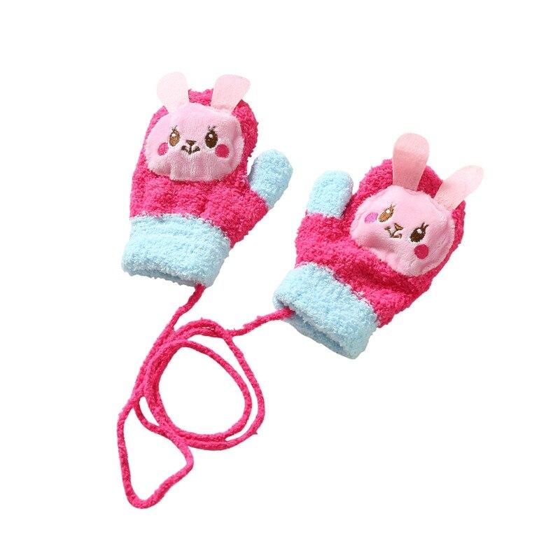 Winter Children's Cartoon Bear Gloves Wool Warm Thickening Gril Boy Cashmere Hanging Neck Chain Finger Cute Gloves