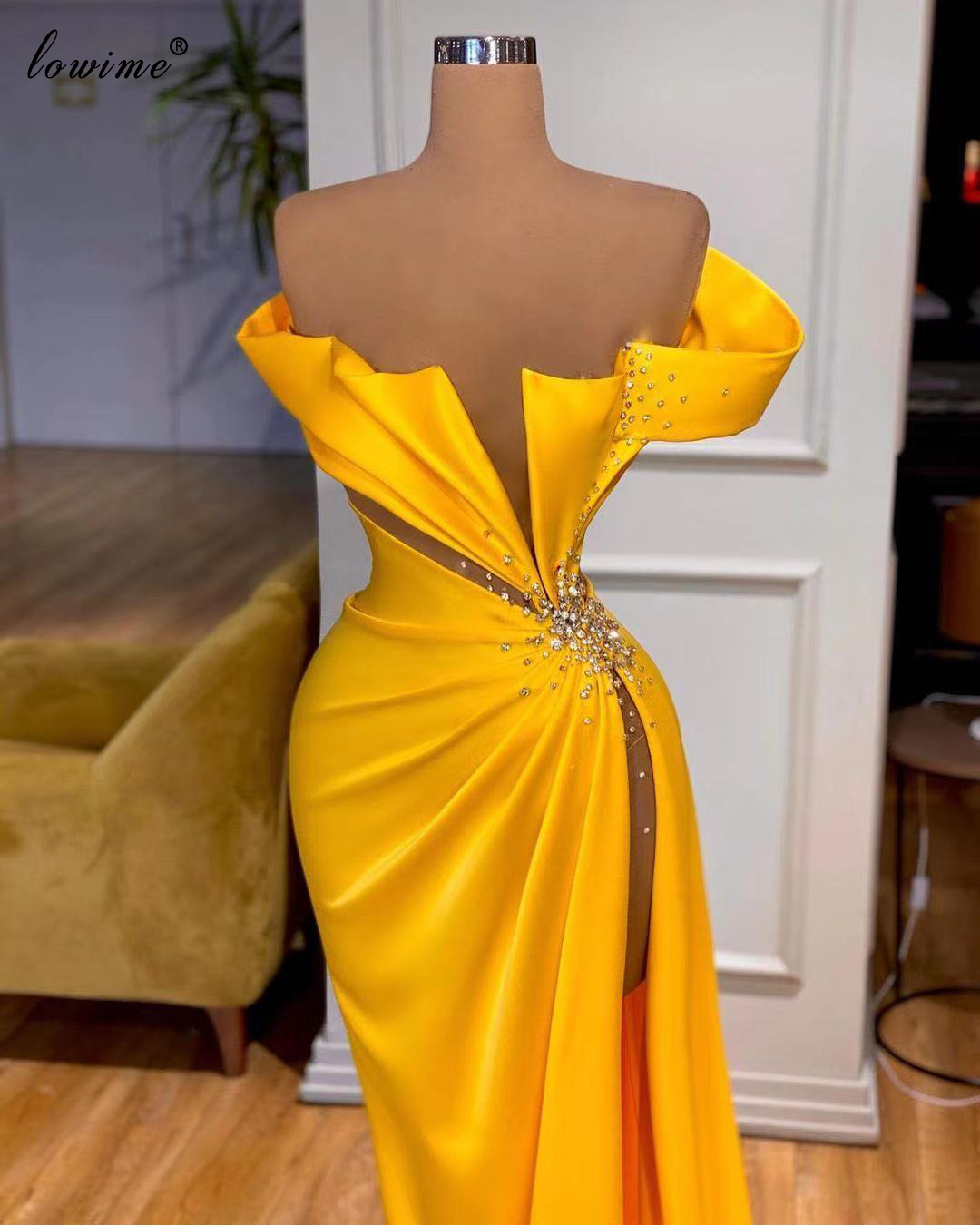 3 Designs Gold Celebrity Dresses With Beads Mermaid Kaftan Couture Long Evening Gowns For Women Party Dresses Suknie Wieczorowe