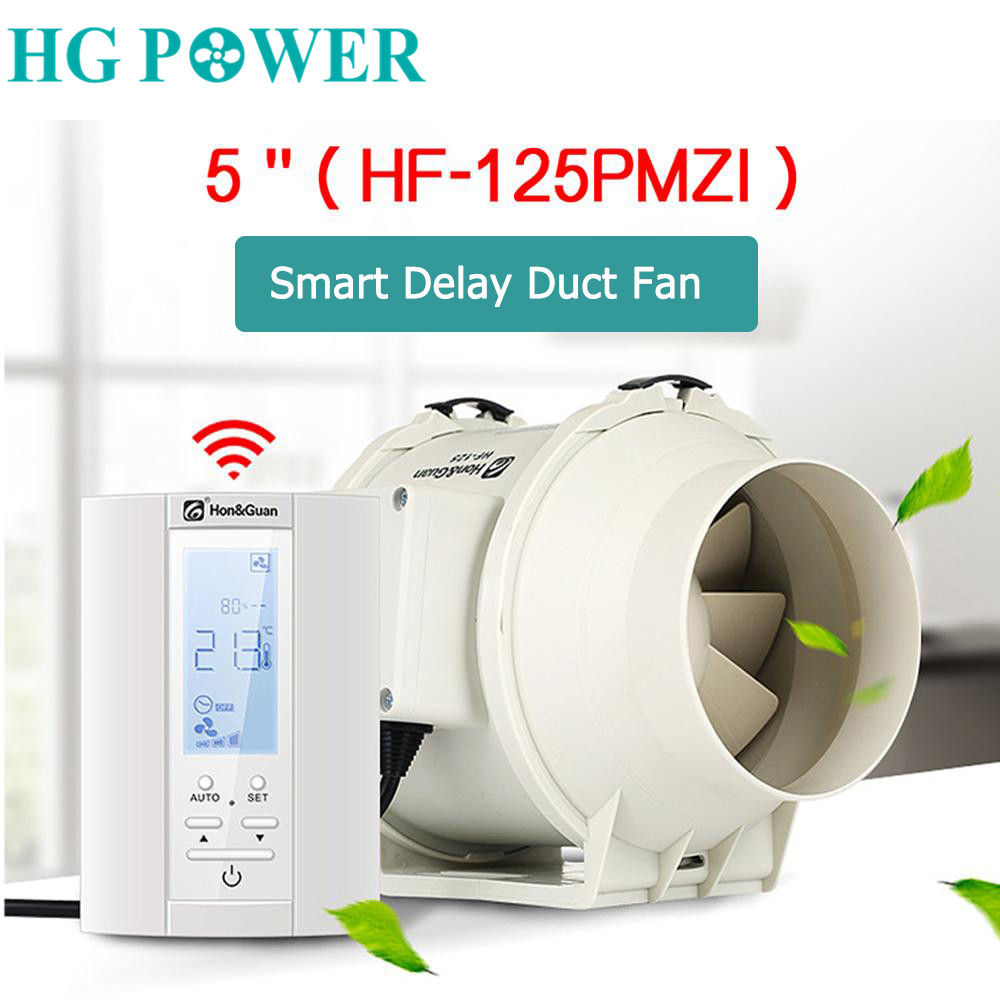 220V 5'' Smart Inline Duct Fan & Humidistat And Timer Bathroom Ventilation Fan With Smart Sensor Controller Air Extractor 125mm