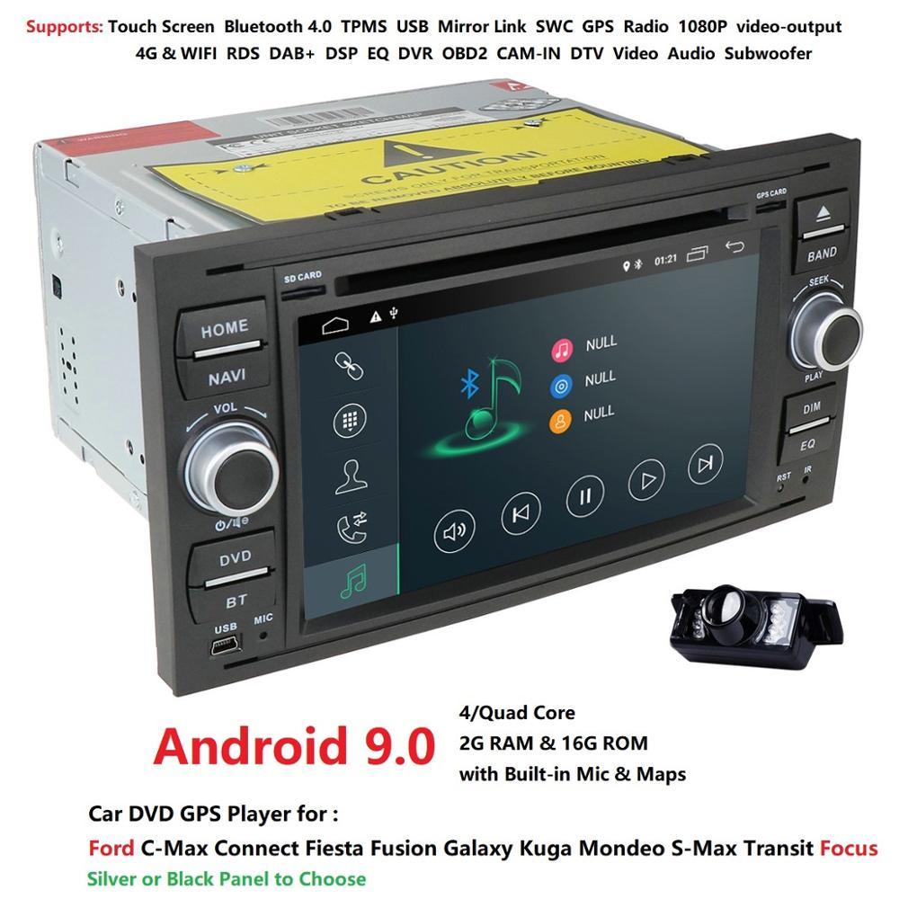 Carro dvd player android 9.0 dab + 2din no traço para ford trânsito foco conectar S-MAX kuga mondeo com quadcore wifi 4g gps bluetooth