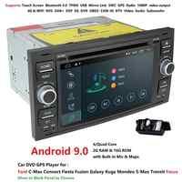 Reproductor de DVD del coche Android 9,0 DAB + 2din en Dash para Ford tránsito enfoque conectar S-MAX Kuga Mondeo con QuadCore Wifi 4G GPS Bluetooth