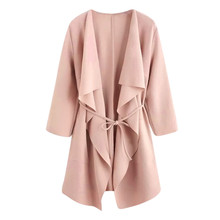 Jaycosin Winter Coats Women Autumn Waterfall Pocket Overcoats Front Wrap Coat Jacket Outwear Solid Female Outer Girls Ladies 808(China)