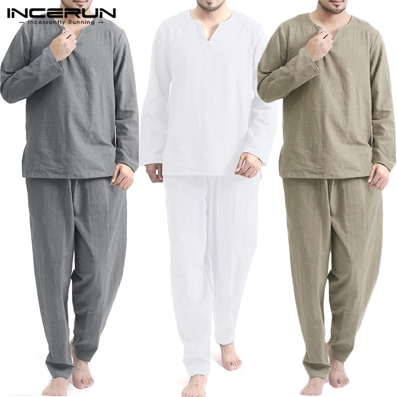 INCERUN Vintage Men Sets Homewear V Neck Long Sleeve Tops & Pants Streetwear Chinese Style Cotton Loose Men Suit Casual 2 Pieces