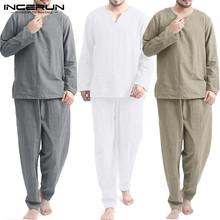 INCERUN Vintage zestawy dla mężczyzn Homewear V Neck z długim rękawem topy i spodnie Streetwear bawełna w stylu chińskim luźne męskie garnitury Casual 2 sztuk tanie tanio CN (pochodzenie) V-neck Elastyczny pas NONE COTTON Pełna Long Pants 100 Cotton Stałe Khaki White Grey S M L XL 2XL 3XL 4XL 5XL Plus Size