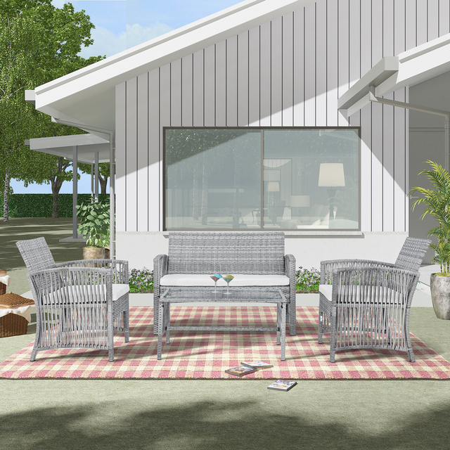 8 Pieces Outdoor Furniture Rattan Chair & Table Patio Set Outdoor Wicker Sofa for Garden Backyard Porch and Poolside 3