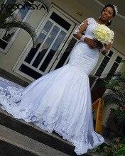 RODDRSYA Vintage Lace Mermaid Wedding Dress Applique Court Train Illusion Long Sleeve African Bridal Gowns Vestido de Novia
