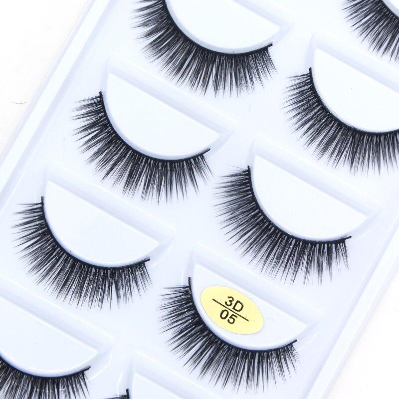 5pair 3D faux mink lashes thick natural and cross false eyelash makeup eyelash extension tools