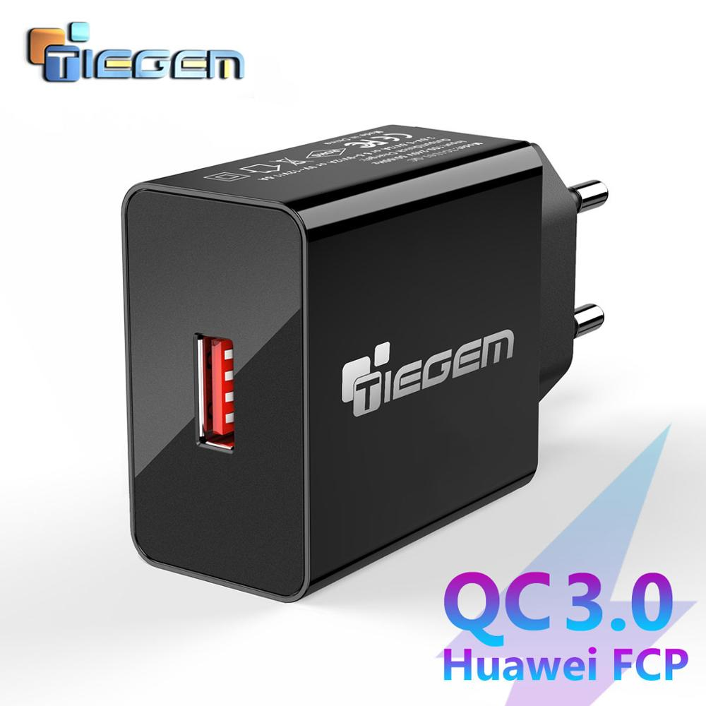 Tiegem 18W Quick Charge 3.0 Fast Mobile Phone Charger EU Plug Wall USB Charger Adapter for iPhone X 7 8 Samsung Xiaomi Huawei(China)