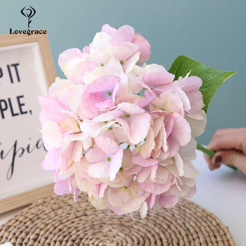 Lovegrace 1 Head Big Hydrangea Artificial Flowers Faux DIY Silk Flower White Hydrangea For Home Wedding Fake Flowers Decoration