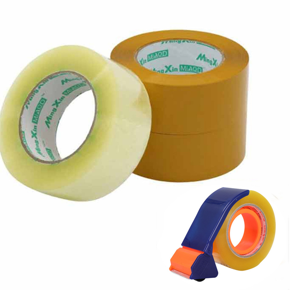 4.8*2.5cm Clear Yellow Parcel Box Packing Tape Sealing Sticky Tape Carton Self Adhesive Packaging Accessories Office Supplies