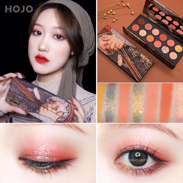 HOJO 12 Color Aristocratic Painting Eyeshadow Palette Shimmer Matte Pigmented Eye Shadow Powder Makeup Glitter Crystal Eyeshadow 3