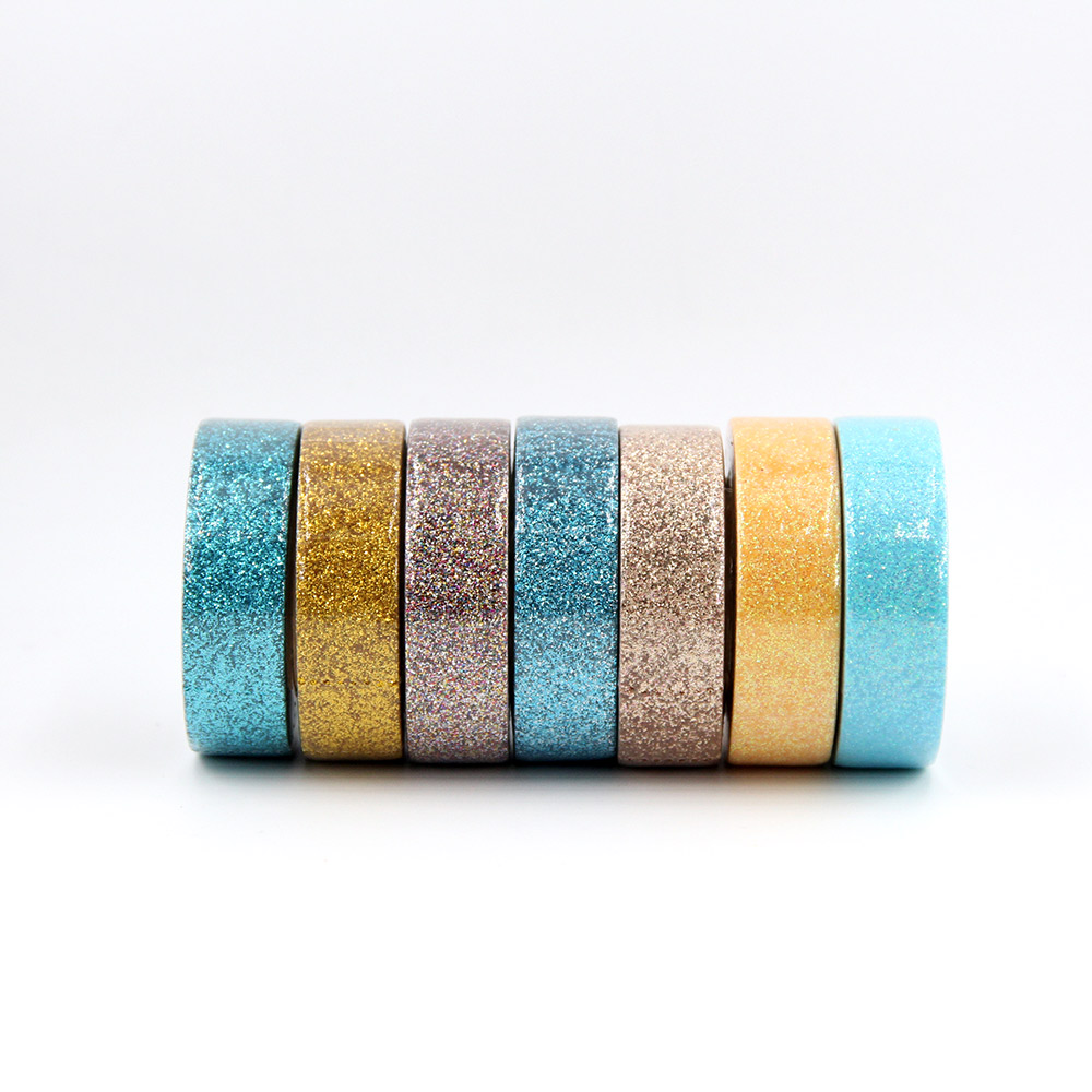 Купить с кэшбэком 15mm*5m Glitter Washi Tape Set Japanese Stationery Scrapbooking Decorative powder Tapes Adhesive Tape Kawai Adesiva Decorativa