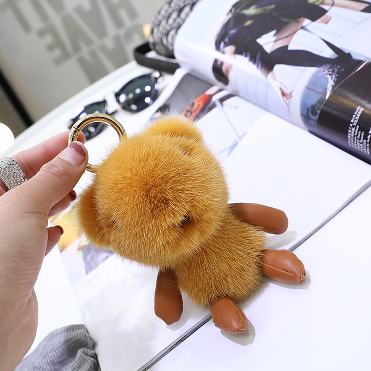 Mink fur bear doll pendant super cute happy bear bag pendant car key chain lovely gift