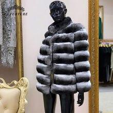 Gorąca promocja szynszyla kobiety zima królik Rex płaszcz prawdziwe futro naturalne płaszcz zimowy ciepły z kurtka z futrzanym kołnierzem w stylu klasycznym