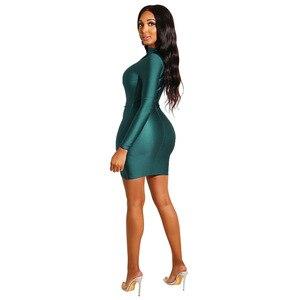 Image 2 - セクシーなシャーリング長袖ボディコン夜のパーティークラブドレス女性カジュアルソリッド倍 Offcie 女性ペンシルミニドレス Antumn Vestidos