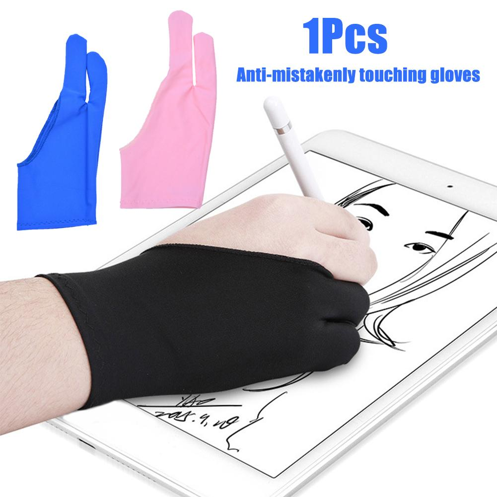 1Pc Anti-smudge Anti-slip Two-finger Gloves For Artist Art Students Drawing Pen Graphic Tablet