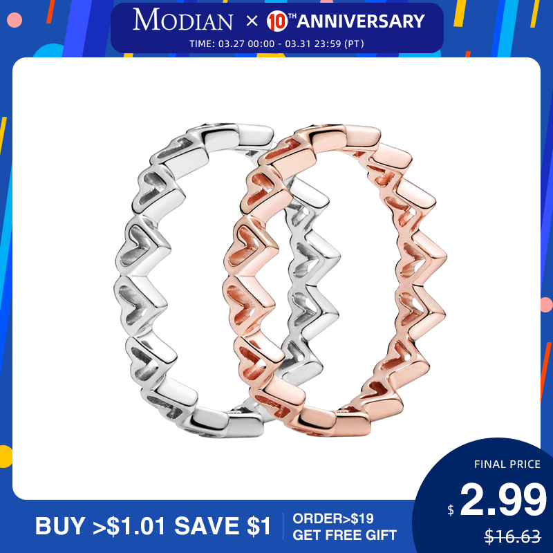 Modian Irregular Hearts Stackable Finger Ring Fashion 925 Sterling Silver Simple Delicate Rings For Women Romantic Fine Jewelry
